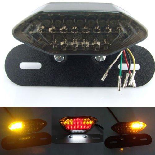 FEIFEIER 12V Smoke LED Motorcycle Turn Signal Brake License Plate Integrated Tail Light