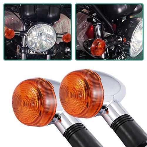 INNOGLOW Motorcycle Turn Signal Lights Chrome Bullet Front Rear Blinker Indicator Light for Harley Honda Kawasaki Suzuki Yamaha Motorcycle Street Standard Custom Bike Cruiser Bobber Chopper 2 PCS