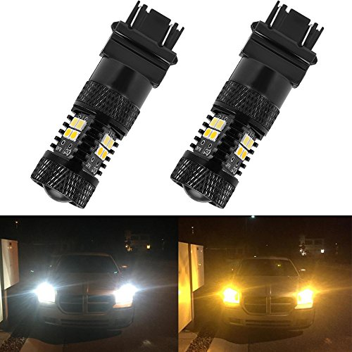 Anxingo Super Bright Switchback LED Bulbs WhiteYellow 3030-SMD 3157 3155 3457 4157 Chipsets with Projector For Turn Signal Blinker Light LampsSet of 2