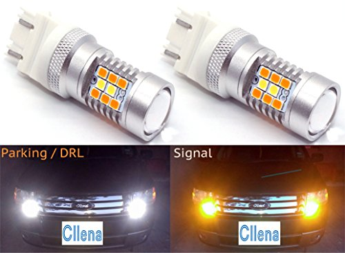 Cllena 3157 LED Switchback 2835 28-SMD High Power Dual Color White  Amber Extremely Bright LED Lights Bulbs for Car Turn Signal Lights 3047 3057 3155 3457 4057 4157 etc