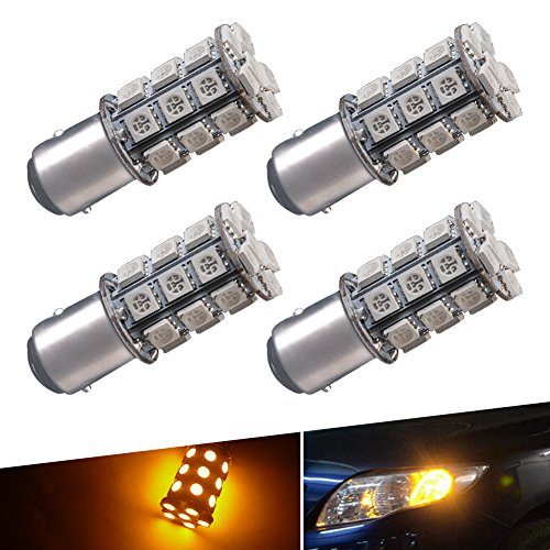 YINTATECH YellowAmber LED Car Lights Bulb 1157 BAY15D 27SMD 5050 Tail Turn Signal Blinker Parking Light Bulbs 7528 2057 2357 DC 12V pack of 4