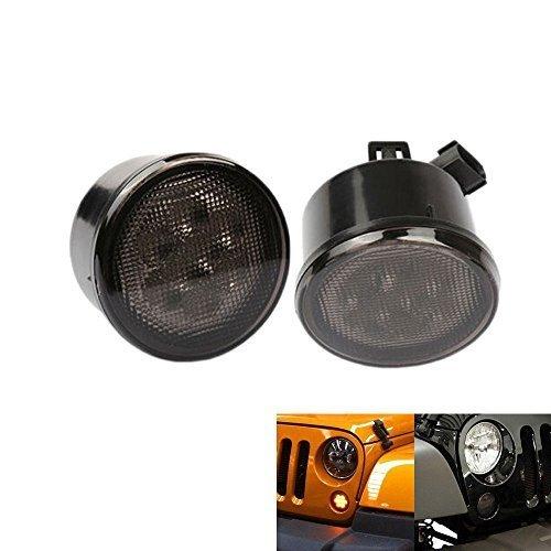 AUXMART Amber Front LED Turn Signal Light Assembly for 2007-2017 Jeep Wrangler JK Pack of 2