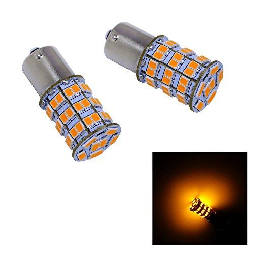 PA2pcs 900Lumen Ba15s 1156 55 SMD 56302835 LED AUTO Turn Signal Light Side Marker LightBrake Light Bulbs OrangeSunset-12V