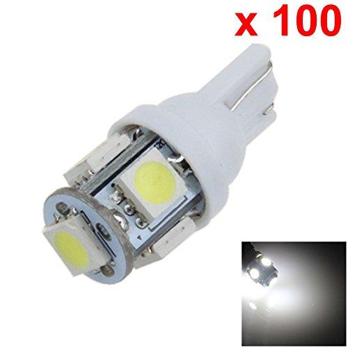 ZHANSHENZHEN White Auto Turn Signal Light Wedge Lamp 5 Emitters 5050 SMD LED DC 12V 2921 2825 12256 A007-W Pack of 100