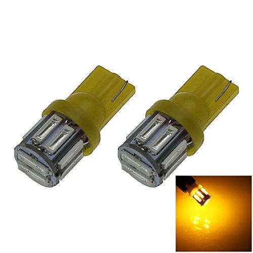 ZHANSHENZHEN Yellow Auto Turn Signal Light Wedge Lamp 10 Emitters 7020 SMD LED DC 12V 2921 2825 12256 Z20101 Pack of 2