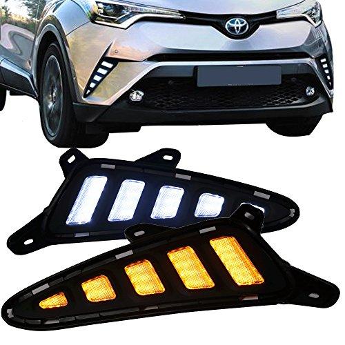 Signal Lights Fits 2017-2018 Toyota C-HR  V1 Style Black Housing Clear Lens Front Bumper LED DRL Side Signal Lights W Switchback Function By IKON MOTORSPORTS