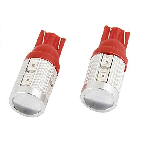 uxcell 2 Pcs Car T10 Red 5630 SMD 10 LED Lens Bulb Side Signal Light Lamp