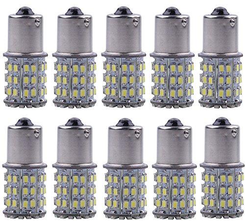 KAFEEK 10-Pack Super Bright 1156 1141 1003 64-SMD White LED Bulbs For Car Rear Turn Signal lights Interior RV CamperXenon White