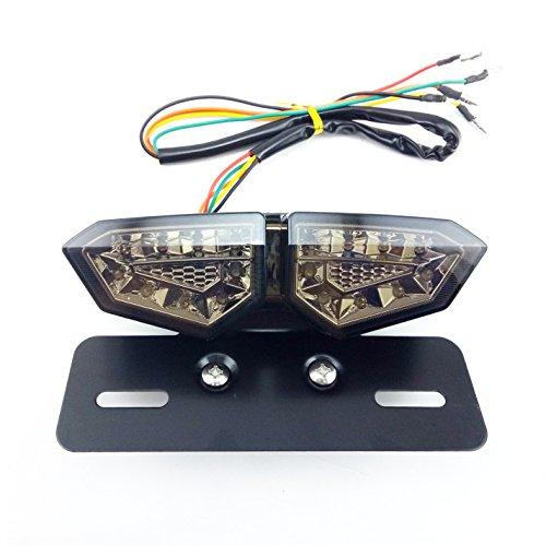 PACASK Turn Signal Lamp License Plate Bracket Smoke Lens Integrated Tail Turn Signal light