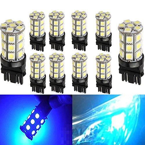 KATUR 10-Pack Blue Super Bright 750Lums 3157 3047 3057 3155 3457 4057 Base 27 SMD 5050 LED Replacement for Car Incandescence Bulb RV Camper Brake Turn Lamp Lights DC 12V 8000K