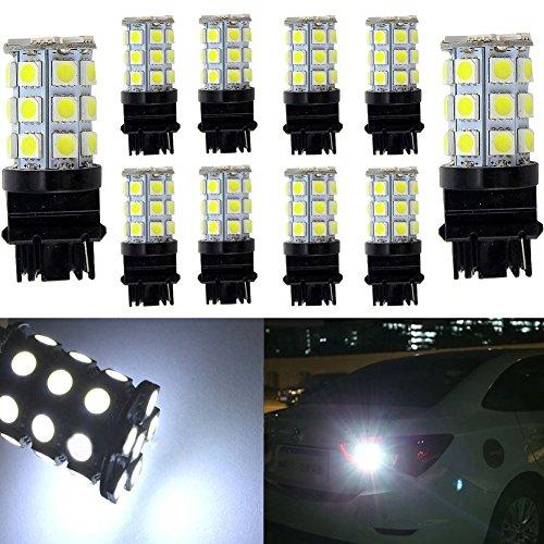 KATUR 10-Pack Super White 750Lums 3156 3156A 3456 Base 27 SMD 5050 LED Replacement for Car Incandescence Bulb RV Camper Brake Turn Lamp Lights DC 12V 8000K