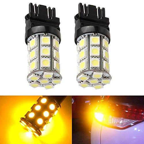 KATUR 2-Pack Amber Super Bright 750Lums 3157 3047 3057 3155 3457 4057 Base 27 SMD 5050 LED Replacement for Car Incandescence Bulb RV Camper Brake Turn Lamp Lights DC 12V 8000K