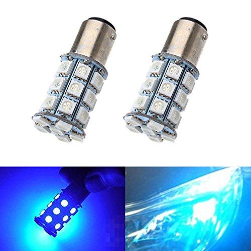 KATUR 2-Pack Blue Super Bright 750Lums 1157 BAY15D 1016 1034 1196 2057 2357 Base 27 SMD 5050 LED Replacement for Car Incandescence Bulb RV Camper Brake Turn Lamp Lights DC 12V 8000K
