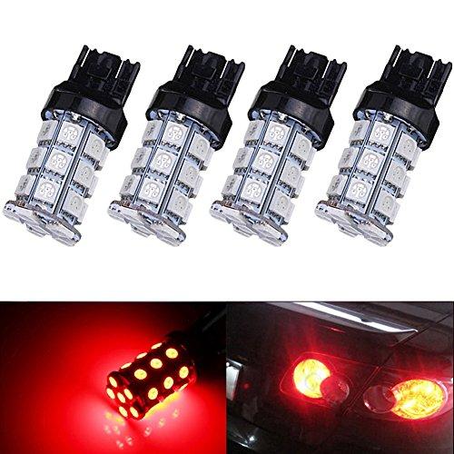 KATUR 4-Pack Red Super Bright 750Lums 7443 7444NA Base 27 SMD 5050 LED Replacement for Car Incandescence Bulb RV Camper Brake Turn Lamp Lights DC 12V 8000K