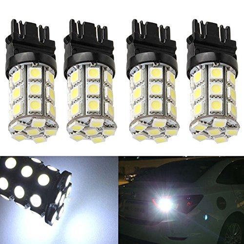 KATUR 4-Pack Super White 750Lums 3157 3047 3057 3155 3457 4057 Base 27 SMD 5050 LED Replacement for Car Incandescence Bulb RV Camper Brake Turn Lamp Lights DC 12V 8000K