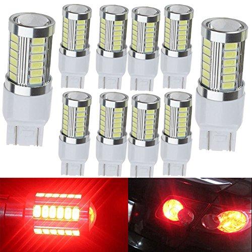 KATUR 10pcs 7443 7444NA 5630 33-SMD Red 900 Lumens 8000K Super Bright LED Turn Tail Brake Stop Signal Light Lamp Bulb 12V 36W