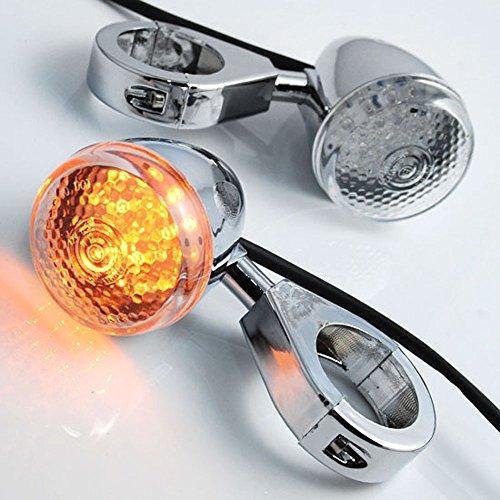 20 LED Chrome Turn Signal Light Indicator 41mm Clamp Fork Mount For Kawasaki Suzuki Honda Harley Cruiser Chopper Touring