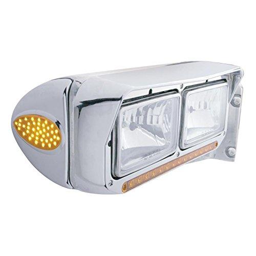 CPW tm Peterbilt 39 LED Teardrop Headlight Turn Signal Cover - Amber LEDChrome Lens
