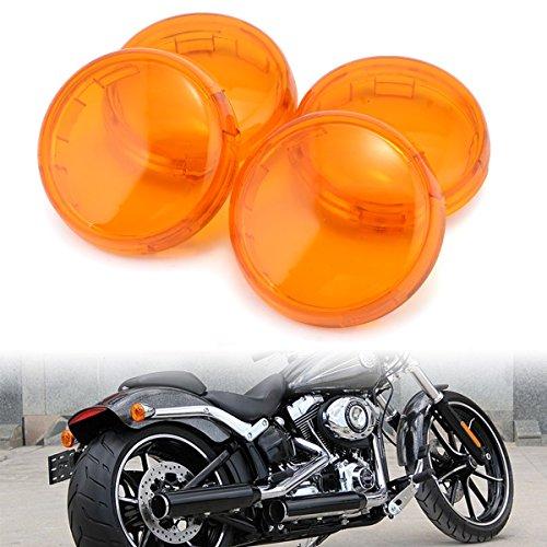 Turn Signal Light Lens Lenses Cover For Harley Sportster 883 1200 XL Fatboy Dyna Breakout Softail FLSTFLSTC Pack 4 Orange