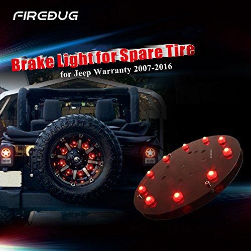 Firebug Jeep 3rd Brake Light LED Jeep Light Accessories for Spare Tire Jeep LED Brake Light Jeep Wrangler JK 2007 - 2016 Red Light