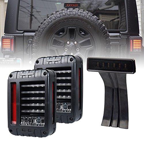 Liteway 07-16 Jeep Wrangler JK LED Rear Tail Light  Smoke Lens Third High Brake Light 2 Years Warranty
