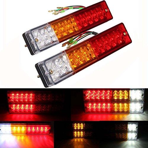 Zxlight 2x 20-LED Car Truck LED Trailer Tail Lights Turn Signal Reverse Brake Light Stop Rear Flash Light Lamp DC12V Red-Amber-White Waterproof IP65 Pack of 2