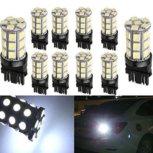 KATUR 10-Pack Super White 750Lums 3157 3047 3057 3155 3457 4057 Base 27 SMD 5050 LED Replacement for Car Incandescence Bulb RV Camper Brake Turn Lamp Lights DC 12V 8000K