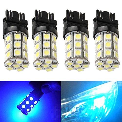 KATUR 4-Pack Blue Super Bright 750Lums 3157 3047 3057 3155 3457 4057 Base 27 SMD 5050 LED Replacement for Car Incandescence Bulb RV Camper Brake Turn Lamp Lights DC 12V 8000K