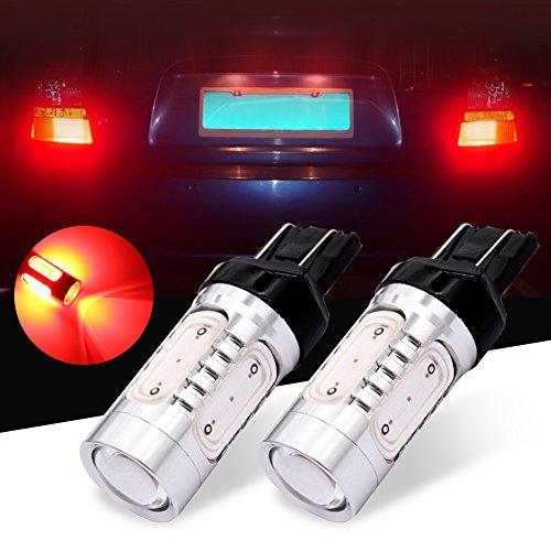DunGu 7443 7441 7444 T20 LED Bulb COB High Power 620 Lumen for Brake Tail Reverse Light Bulb Red Pack of 2
