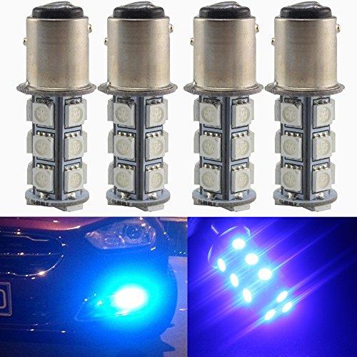 Everbright 4-Pack Blue 1016  1034  1157 BAY15D Base 18 SMD 5050 LED Replacement Bulb For RV SUV MPV Car Turn Tail Signal Bulb Brake Light Lamp Backup Lamps Bulbs High LUMS DV-12V