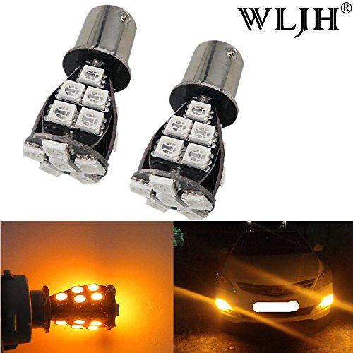 WLJH 4PCS Yellow Amber Canbus LED Bulb 1157 2057 2357 7528 BAY15D 5050 21SMD Brake Lights Tail lights Turn Signal Exterior Light Bulb