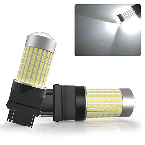 3157 144SMD BakeUp Reverse Brake Tail LED Light Bulb 722 Lumens Each For RV Camper T25 2 Pack Bright White