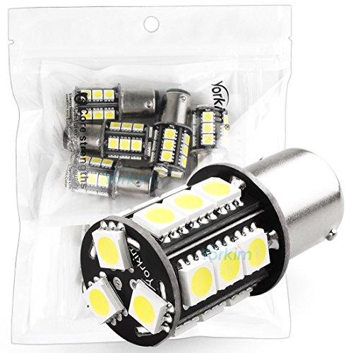 Yorkim 1157 18-SMD 5050 Wedge LED Cool White Bulbs 12V Brake Park Light High Bright Color Pack of 10