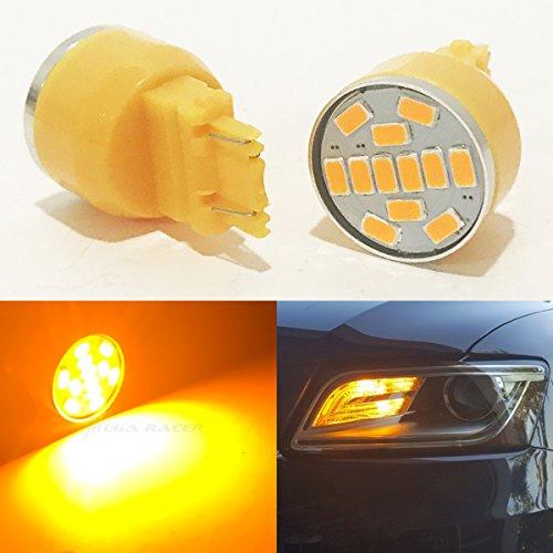 Set of 2 3157 Front Turn Signal Light Bulb Amber-Yellow LED 19 Chips P277W W25x16Q WU25q T25 3057 3156 3357 4157