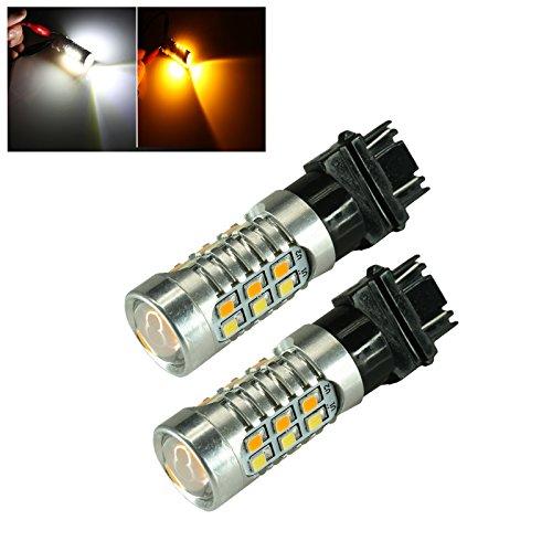 31577443 CK Socket 2835 Chip 22-LED WhiteAmber Switchback Turn Signal Light Bulbs 3157 WhiteAmber