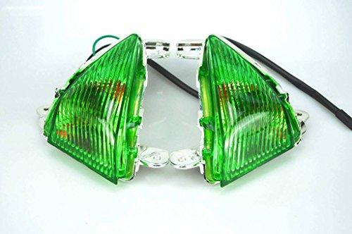 Topzone Green Lens Turn Signal Lights With Bulb For Kawasaki 05-10 Zx-6R63606-07 Zx-10R06-08 650R06-10 Zx-1408-10 ConcoursFrontSuzuki 06-08 Gsxr600 06-08 Gsxr75005-08 Gsxr1000
