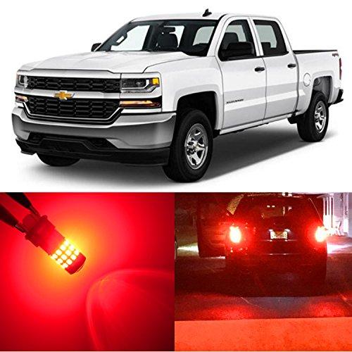 Alla Lighting 2pcs Super Bright 3047 3157 Red LED Bulbs for Rear Turn Signal Brake Stop Tail Light Lamps for 1999~2013 Chevy Chevrolet Silverado 1500  2000~2014 Silverado 2500 HD 3500 HD Classic