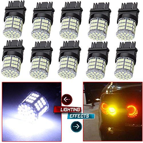 CCIYU 10 Pack White 3157 Epistar 6000K 3014 54-SMD LED Lights Bulbs for 3157 Tail Brake Stop Light Lamp Pack of 10pcs