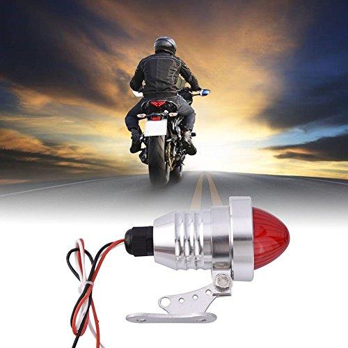 DLLL Aluminum Alloy Polished LED Motorcycles Rear Running Brake Stop Tail Spotlight Lamp Light Motorbike Rear Stop Light Lamp for Harley Chopper Bobber Cafe RacerCustom ChopperCruiserBuggy Sliver