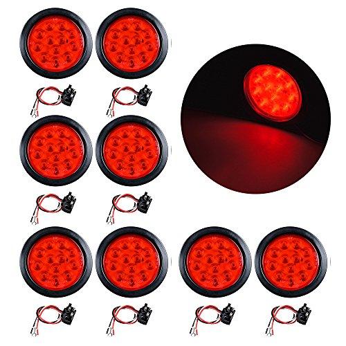 4 Round 12-LED Trailer Tail Light Kit Stop Turn Brake Reverse Back-up Tail Light 8X Red