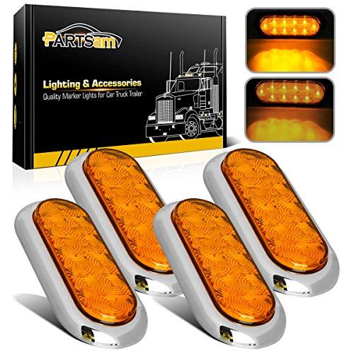 4x Waterproof Amber Stop Turn Tail Lights Flange Mount 6 10LED w Chrome Bezels