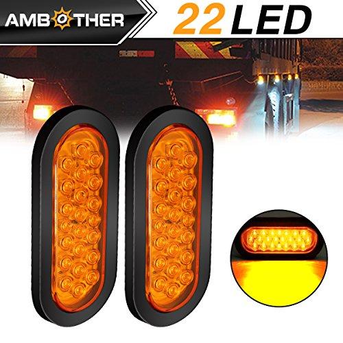 AMBOTHER 2pcs 6 22-LED Oval Amber StopTurn SignalBrakeMarkerTail LED Light Flush Mount Grommet and Plug for Truck Trailer Trail Bus 12V Amber Pack of 2