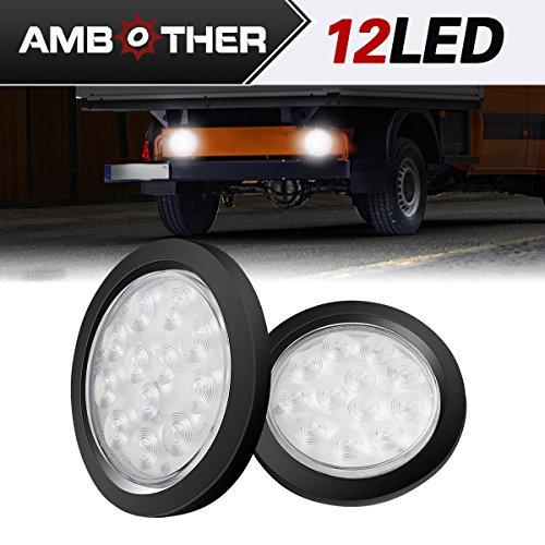 AMBOTHER 4 Round 12-LED Truck Trailer Brake Stop Turn Marker Tail Light Kit With Flush Mount Light Waterproof Tight Sealed Grommet Plug for RV Boat Truck White DC 12V Pack of 2
