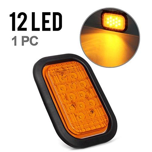 Partsam 5x3 Amber Rectangle 12 LED Stop Turn Tail Light Truck Trailer Light w Rubber Grommet Mount 12V