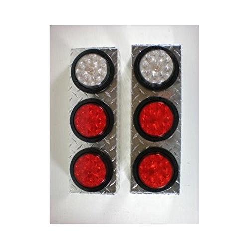 Triple 4 Round Aluminum Boxes  LED Stop Turn Tail Lights  LED White Reverse