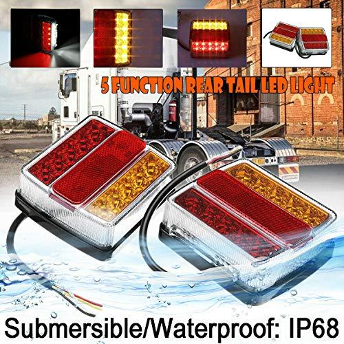 FABOOD F 2Pcs 12V Submersible 16 LED Marine Boat Trailer Truck Tail Light Waterproof LED Stop Brake Lights Turn Signal Light License Plate Light