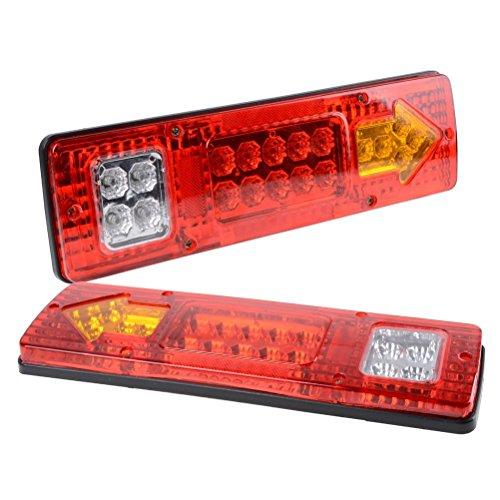 PerfecTech RV 19 LED Trailer Tail Lights Red White-Amber Integrated Turn Signal Running Lamp for ATV Truck 12V2PCS