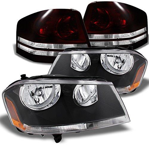 For Dodge Avenger Black Headlights  Dark Red Brake Tail Lights Left Right Pair Replacement Set