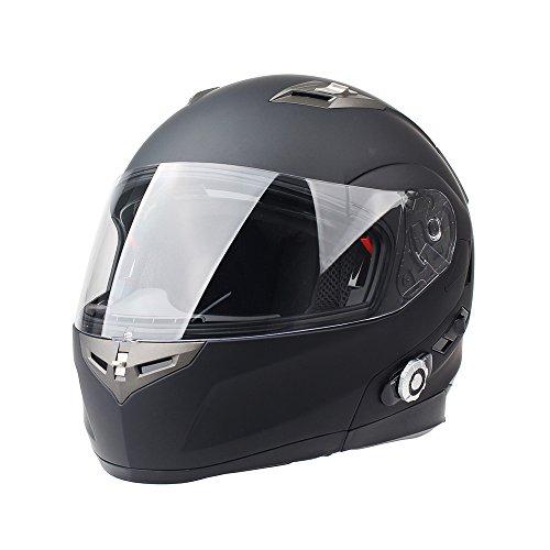 FreedConn Bluetooth Motorcycle Helmets Integrated Modular Flip up Dual Visors Full Face Built-in Bluetooth Mp3 Intercom Communication Range 500M FM RadioMatte Black XL