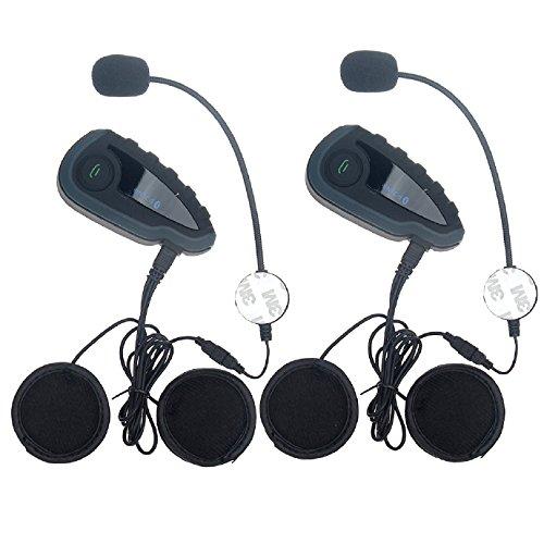Helmet Intercom Communication Bluetooth Motorcycle Motorbike Interphone Headsets - HandleBar Remote FM Radio NFC 1200M - 5 Riders Full Duplex Bluetooth Handsfree Intercom Speaker 2 Units